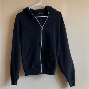 American Apparel black zip hoodie small